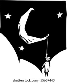 Person commits suicide hanging off the edge of a crescent moon.