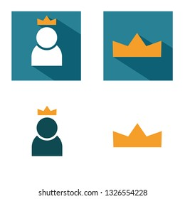 person with crown, corona vector icon. colorful lider with crown sign  blue background with long shaduw. best worker icon for web and app. Vector. All icons are the same size, convenient to use.