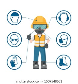 Person design with your personal protection equipment and industrial safety icons