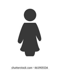 Person doing action concept represented by female pictogram icon. Isolated and flat illustration