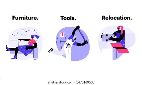 A person doing renovation, a girl packing boxes and a woman relaxing on a sofa on bubble background. House activities. Product categories. Vector illustration