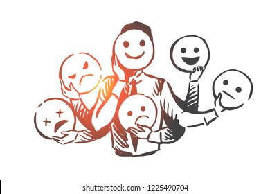 Person, emotions, mask, face, mood concept. Hand drawn person changes different emotions concept sketch. Isolated vector illustration. - Shutterstock ID 1225490704