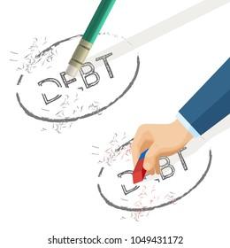 Person erase word debt written on paper, vector illustration