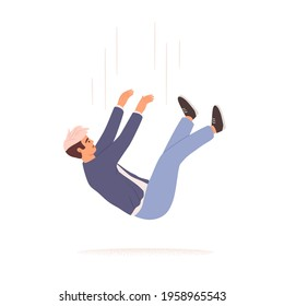 Person falling down from above. Fall of young man. Failure, fiasco, life crisis, tragedy, sudden problems and difficulties concept. Colored flat vector illustration isolated on white background