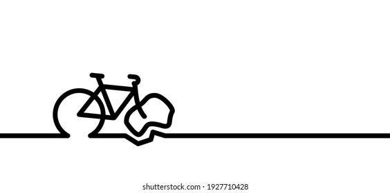 Person falling down off a bicycle icon. Falling bike cartoon sign. Dangerous, cyclist fall pitcogram. Vector. Stop, caution cycling symbol. Falling biker. Mountain biker. Flat or broken bicycle tire