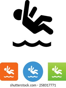 Person falling into water icon