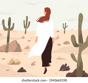 Person feeling lost and alone, wandering in desert. Concept of even boring monotonous life. Woman walking her path in loneliness. Colored flat vector illustration of finding and exploring yourself