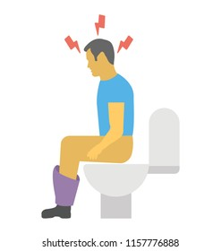 A person feeling pain with constipation in the bathroom