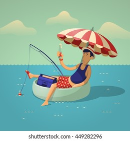person fishing on the sea, vector illustration