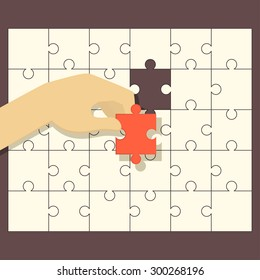 Person fitting the last puzzle piece - concept vector illustration