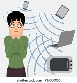 person frightened by electromagnetic radiation - funny vector cartoon illustration