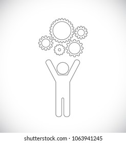 person with gears outline icon