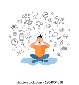 Person get too much information. Information and data overload concept. Digital information overload. Flat design.