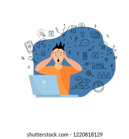 Person get too much information. Information and data overload concept. Digital information overload. Flat and line design styles.