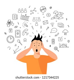 Person gets too much information. Information and data overload concept. Mental health concept. Digital information overload. Flat and line design styles.