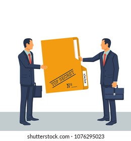 Person give secret documents. Top secret folder. Vector illustration flat design. Isolated on white background. Documents confidentially. Paper information in file. Deal transmission of information.