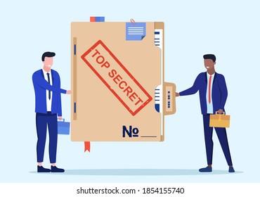 Person give secret documents. Top secret folder. Documents confidentially. Paper information in file. Deal transmission of information. Cartoon flat vector illustration design