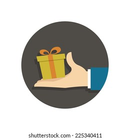 Person gives gift. Vector illustration in trendy flat style isolated on white background