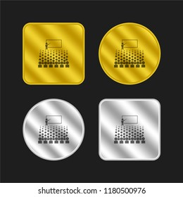 Person giving a lecture for big auditory gold and silver metallic coin logo icon design