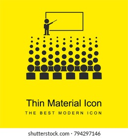 Person giving a lecture for big auditory bright yellow material minimal icon or logo design