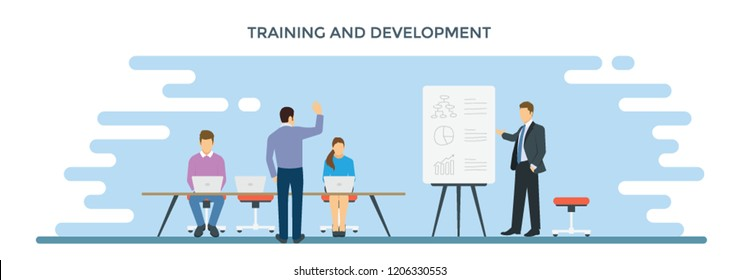Person giving training and development to employees