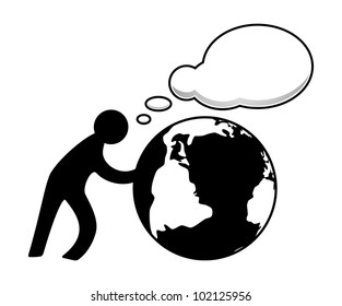Person with globe and speech bubble