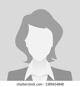 Person gray photo placeholder woman in costume on gray background