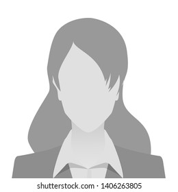 Person gray photo placeholder woman in costume on white background