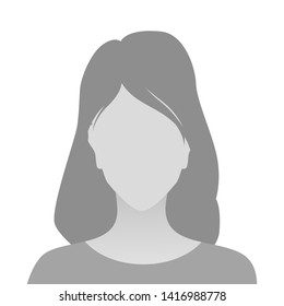 Person gray photo placeholder woman in T-shirt on white background