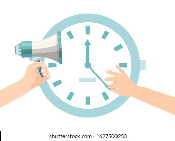 Person hands try to stop clock arrow. Deadline with big clock and megaphone concept. Deadline term delay problem