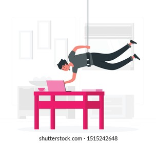 A person hanging from the ceiling concept vector .