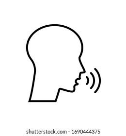Person, head talking icon. Voice, speak, talk control vector illustration.