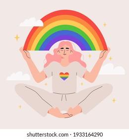 Person hold lgbt rainbow. Pride month celebration against violence, descrimination, human rights violation. Lgbt greeting card. Man, woman or transgender on peaceful demonstration or protest.