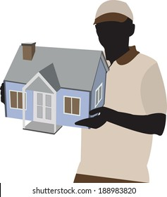 person holding model of a house