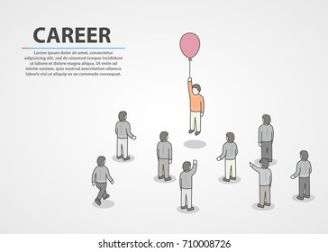 Person holding small air balloon on raised hand while flying up and people crowd around looking at him. Career concept. Vector illustration
