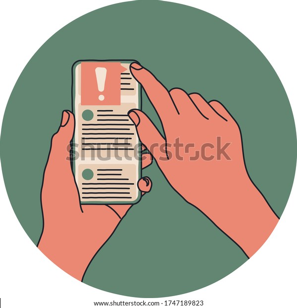 A person holding a smartphone in their hands and scrolling a social media feed. The user is reporting the post to the moderator as fake news or misinformation. Cartoon style flat vector illustration