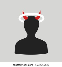 Person is holy angel and evil devil and demon. Man has horn and gloriole over the head. Ambivalence between good and bad. Vector illustration.