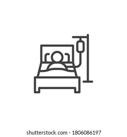 Person in hospital bed line icon. linear style sign for mobile concept and web design. Man having infusion outline vector icon. Symbol, logo illustration. Vector graphics