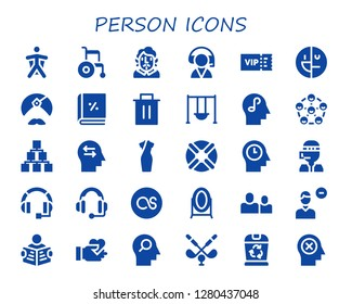 person icon set. 30 filled person icons. Simple modern icons about  - Wingsuit, Wheelchair, Becquer, Customer service, Vip, Mental disorder, Man, Account, Trash, Swing, Mind
