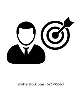Person Icon Vector With Target Bullseye Goal in Dartboard for Business Development in Glyph Pictogram illustration