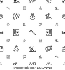 person icons pattern seamless white background. Included editable outline doctor with medical reflector, blowtorch, baby, group, photo for passport icons. person icons for web and mobile.