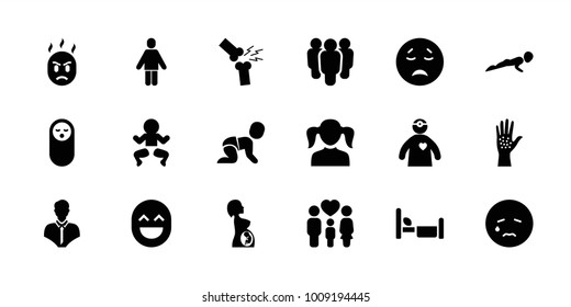 Person icons. set of 18 editable filled person icons: baby food, girl, crying emot, newborn child, group, family, pregnant woman, doctor with medical reflector, arm rash
