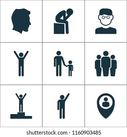 Person icons set with depression, rejoicing, pupil and other position elements. Isolated vector illustration person icons.