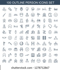 person icons. Trendy 100 person icons. Contain icons such as badge, hairstyle, family home, sad emot, table, doctor, thief emot, newborn child. person icon for web and mobile.