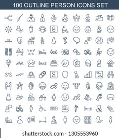 person icons. Trendy 100 person icons. Contain icons such as woman, user and tick, photo for passport, sad emot, user, man with broken arm, kick scooter. person icon for web and mobile.