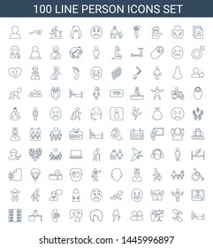 person icons. Trendy 100 person icons. Contain icons such as bed, hands holding heart, teacher, man and woman, woman hairstyle, woman face with flower in hair. person icon for web and mobile.