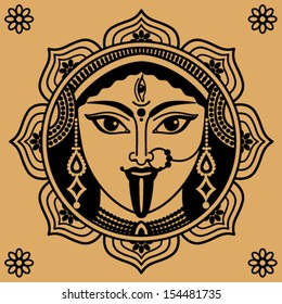 person of Indian goddess Kali on a beige background