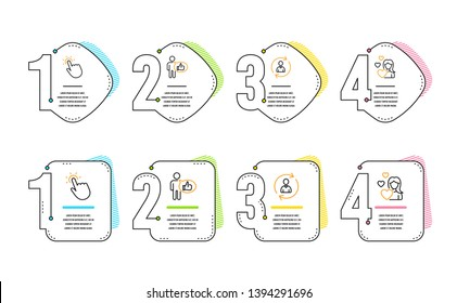 Person info, Touchpoint and Like icons simple set. Love sign. Refresh user data, Touch technology, Thumbs up. Woman in love. People set. Infographic timeline. Line person info icon. 4 options or steps