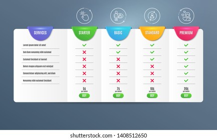 Person info, Touchpoint and Like icons simple set. Comparison table. Love sign. Refresh user data, Touch technology, Thumbs up. Woman in love. People set. Pricing plan. Compare products. Vector