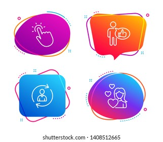 Person info, Touchpoint and Like icons simple set. Love sign. Refresh user data, Touch technology, Thumbs up. Woman in love. People set. Speech bubble person info icon. Colorful banners design set